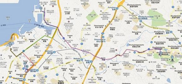 2011年沖繩自駕之旅Day2上午行車路線