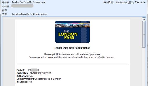 購買倫敦通行證Voucher